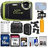 Fujifilm FinePix XP130 Shock & Waterproof Wi-Fi Digital Camera (Lime) with 32GB Card + Battery + Cases + Diving Light + Buoy Handle + Kit