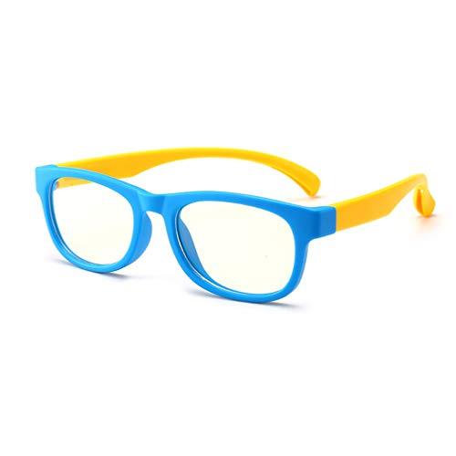 (Junkai Mädchen Jungen Brillen - Silikon Rahmen Anti Blau Licht Clear Lens Gläser Rahmen für Computer/PC Spiel/TV / Handy Lesen Brillen - ka18083010)