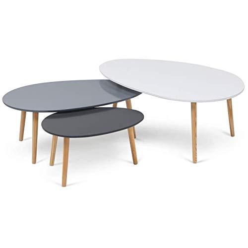 IDMarket - Lot de 3 Tables Basses gigognes laquées Blanc/Gris scandinave