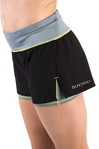 Sundried Frauen-Gym Shorts Jogging Fitness und Training 2-in-1 Schwarz Kurz Shorts (Medium)