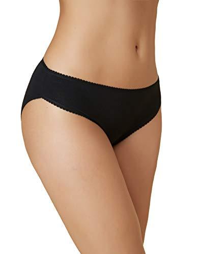 VANEVER Damen Slips Baumwolle Cotton Bikini 5er Pack Sexy Soft Unterwäsche Panties (Schwarz, 44(2XL)) - Lycra-slips