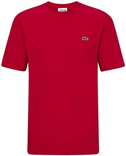 Lacoste TH7418 Klassisches Herren Basic T-Shirt, Rundhals, Kurzarm, Regular Fit, für Freizeit und Sport, 100% Leichte Strukturierte Baumwolle Rot (Red 240), EU 2 - Strukturierte Baumwolle Shirt