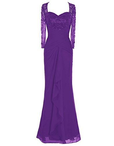 Dressystar Robe de femme,Robe de cérémonie/ gala longue,à paillettes,manche longues en Mousseline,tulle Pourpre