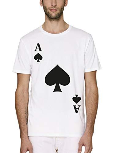 clothinx Herren T-Shirt Bio und Fair Karneval & Fasching Spielkarte Pik Ass Kostüm Weiß Größe - Pokerspieler Kostüm