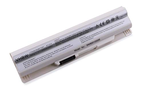 vhbw Batterie Li-ION 4400mAh 11.1V Blanche pour MEDION Akoya Mini E1311 & MSI, remplace Les modèles 40029150, 40029231, 40029683, BTY-S14, BTY-S15