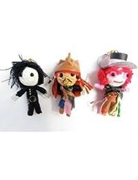 Johnny Depp Set 3 x Voodoo String Doll Keychain Jack Sparrow, Mad Hatter, Edward Scissor Hands by String Doll World