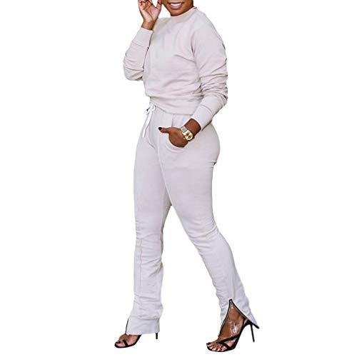 Mxssi Langarm Sweatshirts mit Reißverschlusssaum Leggings Zweiteiler Damen Set Fashion Sporty Trainingsanzug Outfit