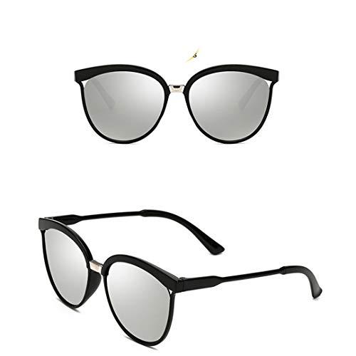 DAIYSNAFDN Klassische einfache cat Eye Sonnenbrille Frauen Kunststoff Sonnenbrille Klassische Retro Silver Lens