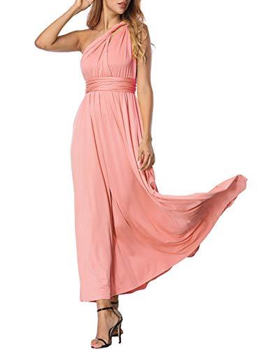 FeelinGirl Robe Femme ete Robe Ethnique Robe Boheme Chic Robe Longue Robe Plage Robe Femme Chic Rose L