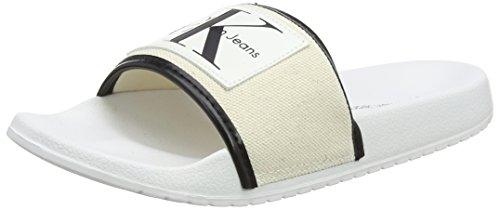 Calvin Klein Jeans Damen Cherie Heavy Canvas Pantoffeln, Weiß (Ntw 000), 39 EU Heavy Classic Jeans