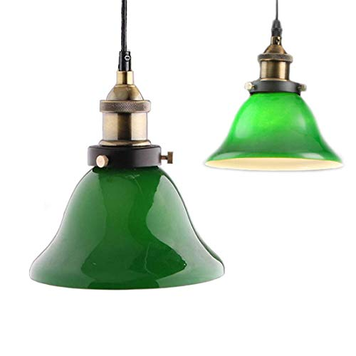 ✨Green vidrio colgantes luz, Creative Industrial Edison Vintage estilo iluminación casera restaurante dormitorio sala de estar retro cristal verde esmeralda techo luz
