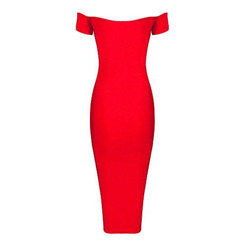 HLBandage Women V Neck Off Shoulder Rayon Bandage Dress Rosso