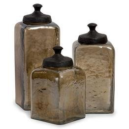 Square Brown Luster Canisters - Set Of 3 [kitchen] Nopart: 6975-3