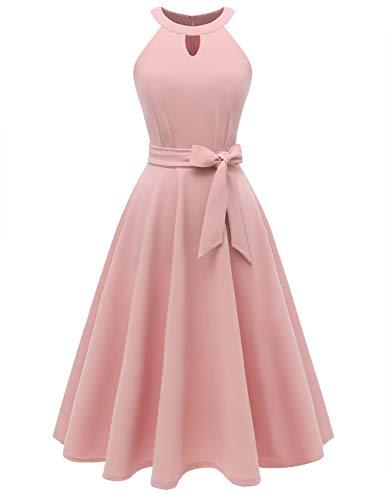Dresstells Midi Sommer 1950er Vintage Neckholder Rockabilly Kleid Petticoat Cocktailkleid Blush XS (Vintage Neckholder Kleid)