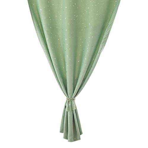 HDUFGJ Gardinen Vorhang Blickdicht, leichte & weiche Verdunkelungsvorhang Solid Color Stars doppelseitige Blackout Vorhänge für Wohnzimmer, Schlafzimmer, Monolithisch (132X213 cm) Grün - Solid Color Star