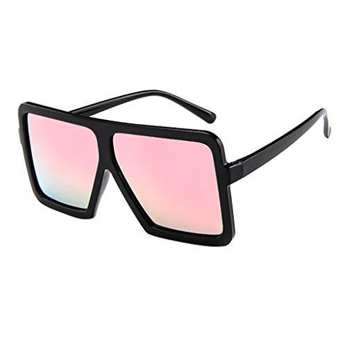 fazry Damen Frauen Unisex Vintage Brille Big Frame Sonnenbrillen Brillen(Rosa)
