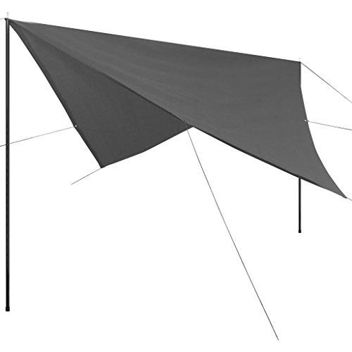 vidaXL Sonnensegel mit Gestell HDPE Quadrat 5x5m Sonnenschutz Beschattung