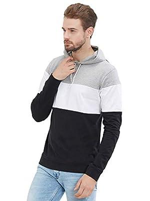 LEWEL Men's Stylish Full Sleeve Grey, White, Black Hooded T-Shirt (100% Cotton, Bio-Washed)