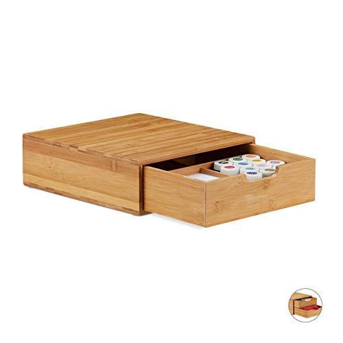 Relaxdays cassettiera bambù, hlp 10 x 29,5 x 30cm, organizer con cassetti, effetto naturale, portaoggetti da scrivania, legno, 1