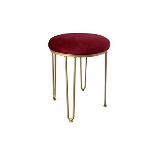 ECSD Nordic Creative Gepolsterter Vanity Hocker Makeup Hocker Princess Hocker Schlafzimmer Hocker Sofa Hocker Dressing Chair Umkleidekabine Schuh Bench (Farbe : Jujube Red)