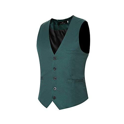 Mens Designer Herringbone Vintage Slim Style Casual Fashion Waistcoats Männer Business Waistcoat Slim Fit Hochzeit Smoking (Color : Grün, Size : XS)