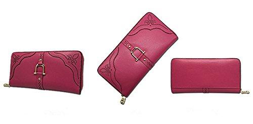 Xinmaoyuan Portafogli donna Portafogli donna Zipper di cucitura in borsa per il tempo libero borsa a mano inciso a laser Zero portamonete,blu Rose Red