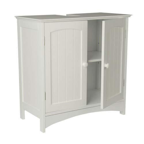 *Limal Waschtischunterschrank Holz MDF Aussparung für Siphon verstellbarer Einlegeboden 60 x 30 x 60 cm, weiß*