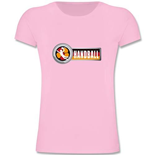 Handball WM 2019 Kinder - Handball Deutschland 2-128 (7-8 Jahre) - Rosa - F131K - Mädchen Kinder T-Shirt