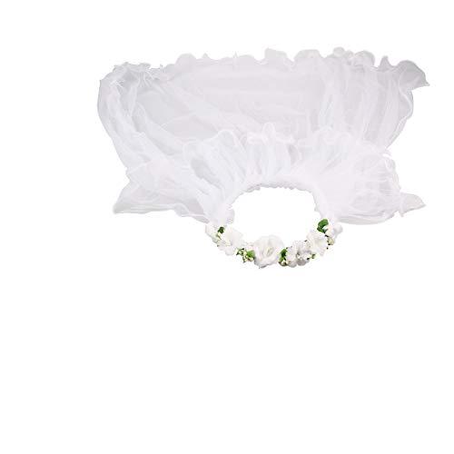 BESTOYARD Mädchen erste Kommunion Schleier Blume Schleier Kranz Hochzeit Blume Krone (weiß) (Niedlich Erste Kommunion Kleider)