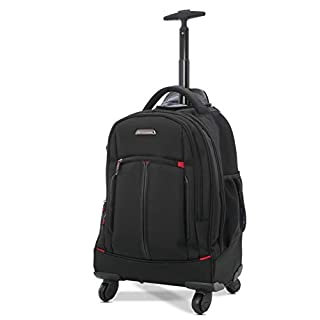 Aerolite 4 Wheel Laptop Rucksack Trolley Backpack Business Luggage Bag - Fits Laptop up to 15.6