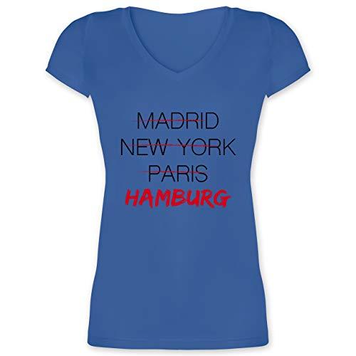 Städte - Weltstadt Hamburg - XS - Blau - XO1525 - Damen T-Shirt mit V-Ausschnitt