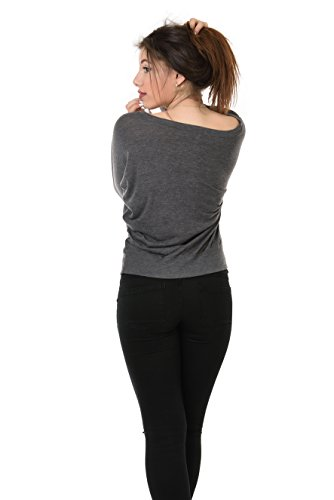 Maglietta Allentatta Manica lunga / Manica a Pipistrello stampa - piccolo logo di elfo - Donna, da 3Elfen grigio-grigio