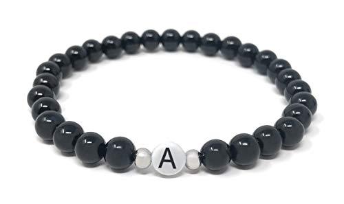Pärchen Armband und BFF Armbänder mit Buchstaben in Schwarz oder Weiss (schwarz, Buchstabe A)