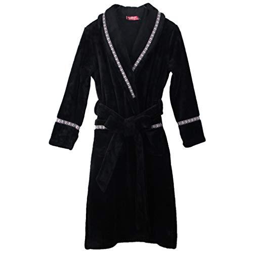 Bademantel Morgenmantel Verdickung Luxus Schal Badetuch Bademäntel Paar Pyjamas Bad Wrap - Geschenk (schwarz) (größe : Female-XL)