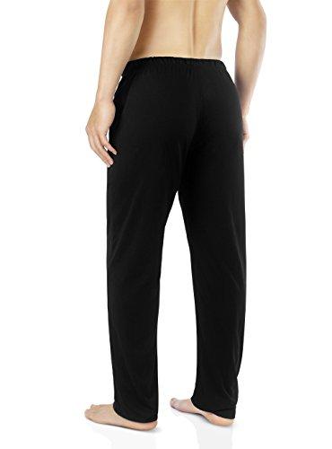 Genuwin Herren Schlafanzughosen Baumwolle Jersey Hose Lang Schlafanzug PJ Unterseite mit Tunnelzug 1er Pack Schwarz