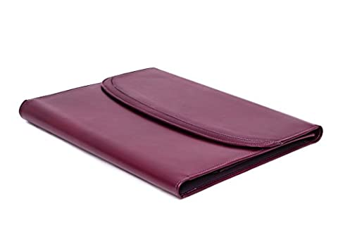 Purple Genuine Leather Writing and Conference A4 Slim Folder Folio with Clipboard