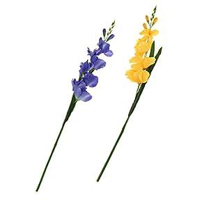 B Blesiya 2pcs Simulación Artificial Gladiolo Flor Tallo Boda Decoración Hogar – Azul Amarillo
