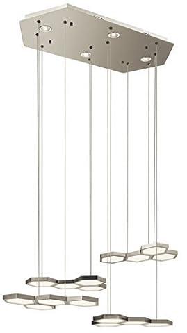 elan 83125 Hexel 62-watt LED Pendant with Etched Acrylic Diffusers, Brushed Aluminum Finish by ELAN