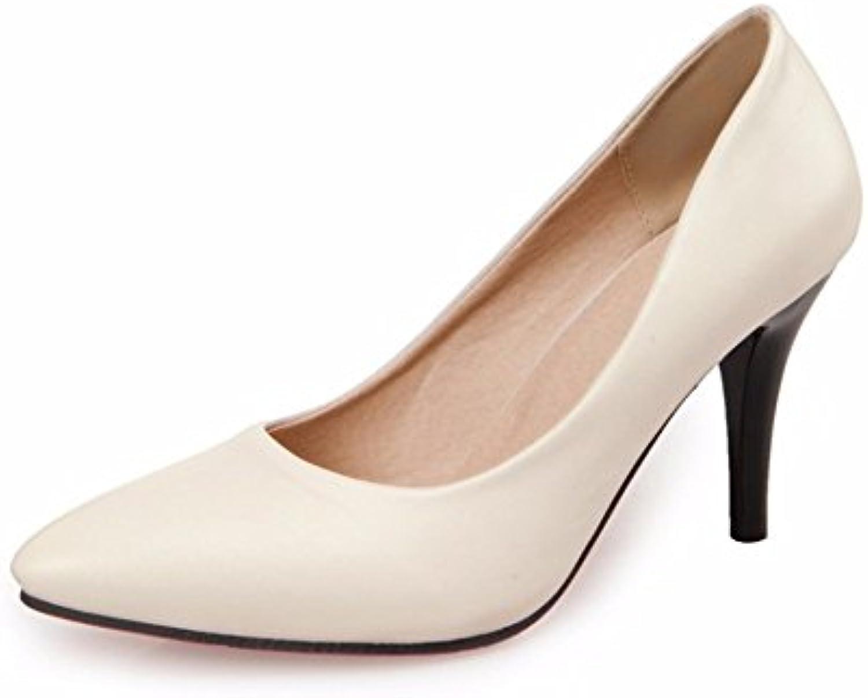 RFF-Women's Shoes Zapatos de Tacón/Talones Profesional Delgado, Talón, Señaló la Boca, Zapatos de Mujer,Beige,38