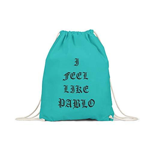 licaso Bolsa de Deporte Estampada en Colores Gym Bag con Robusto Cordel Bolsa impresión ecológica & sostenible Bolsa de Transporte 100% algodón, Color I Feel Like Pablo, tamaño Smaragd