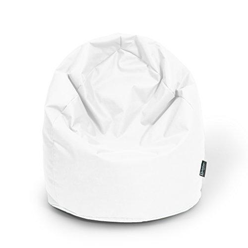 BuBiBag Sitzsack Tropfenform Beanbag Sitzkissen für In & Outdoor XL 300 Liter bis XXXL 470L mit Styropor Füllung in 23 Versch. Farben (XL, weiß)