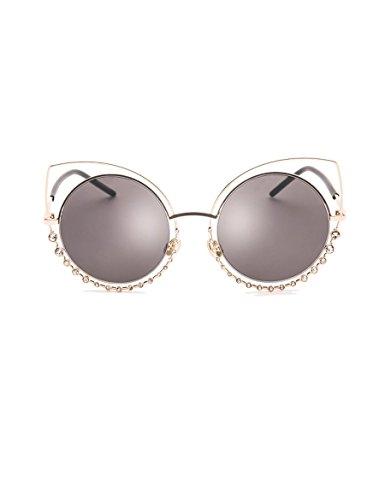 Neue Metall-Sonnenbrille Weibliche Diamant Katze Auge Sonnenbrille Runde Gesicht Sonnenbrille ( Farbe : 2 )