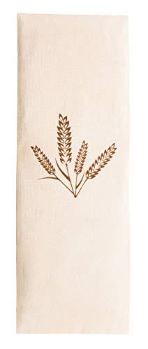 Zollner24 Körnerkissen ca. 20x53 cm, abnehmbarer Bezug aus Baumwolle, natur mit Ährenaufdruck