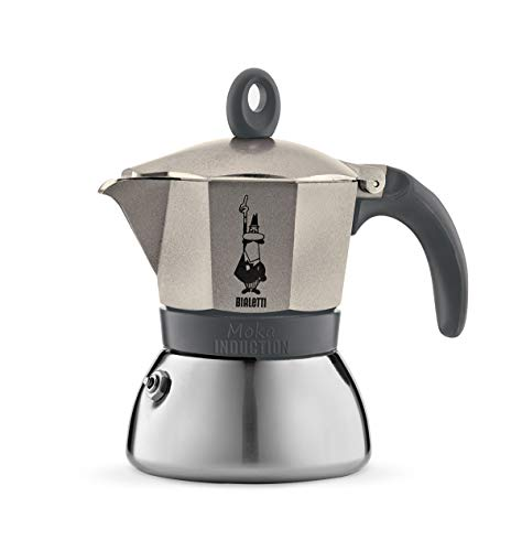 Bialetti Moka Induction, Caffettiera 3 Tazze, Light Gold