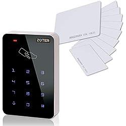 Soter de sécurité ® touches rétroéclairées Panneau tactile Contrôleur clavier pour Home Office Lecteur RFID 125KHz Entrée accès Support Système de sécurité 1000utilisateurs + Lot de 10cartes RFID
