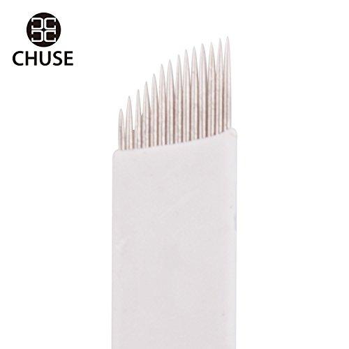 Chuse Eligen el maquillaje permanente de cejas microneedling Manual de agujas de tatuaje S14 Micro Cuchillas 50pcs / caja 14 inclinada microblading