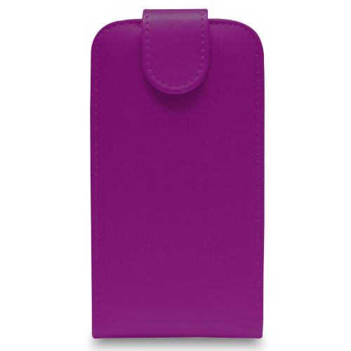 Apple iPhone 4S/4 - Leder Flip Hülle Tasche + 2 in 1 Stylus Pen + Screen Protector & Poliertuch ( Black ) Dark Purple