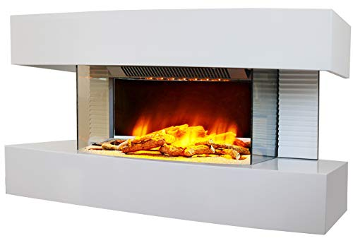 Chemin 'Arte 185 Lounge Medium chimenea eléctrica pared Design Blanca, 82 x 21 x 42 cm