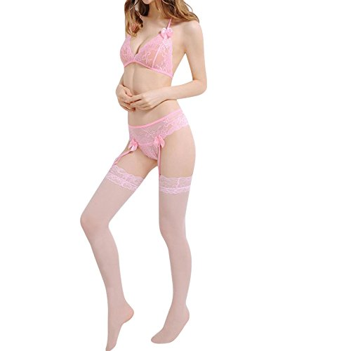 hmtitt super Push up Frauen sexy Spitze Halter BHS Dessous Set + Schiere Spitze top Oberschenkel strümpfe Underwear Knickers Strumpfband Strumpf Set (ohne Brille, strümpfe) -