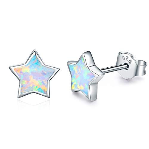Kinder Ohrringe Sterne Silber 925 Sterling Silber Opal Ohrringe Knorpel Ohrringe für Frauen Stern Ohrringe Silber Mädchen